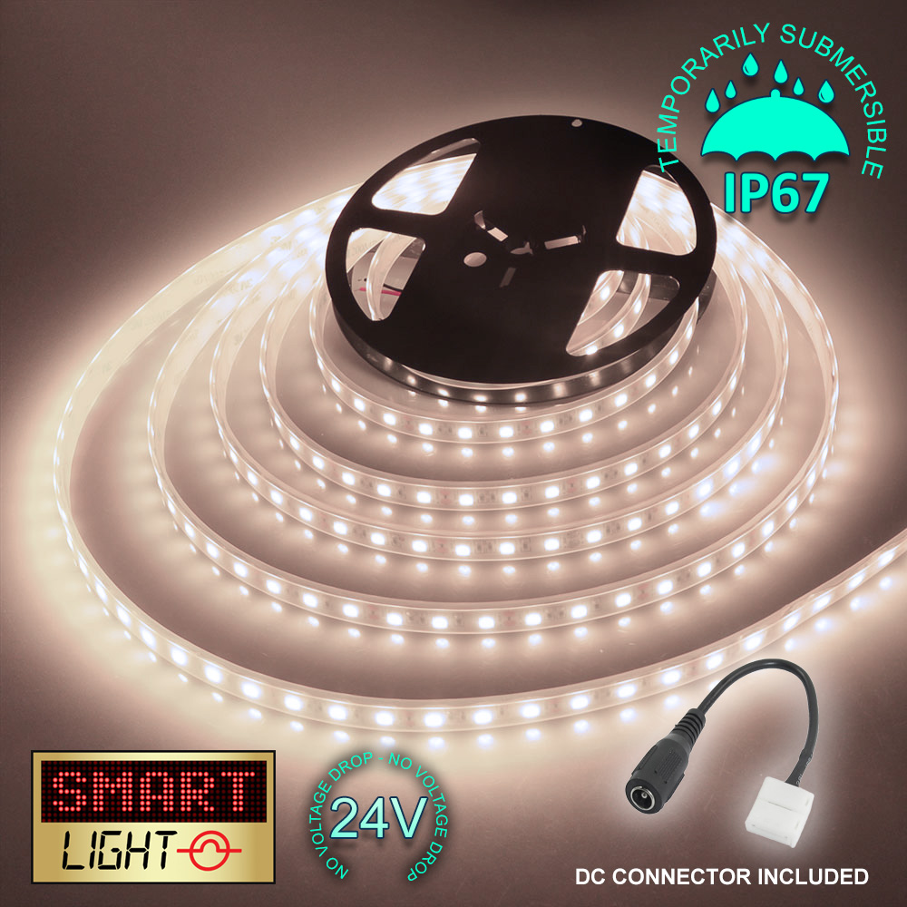 24-V-BIANCO-1M-20M-LED-Luce-Striscia-Nastro-Natale-Armadietto-Cucina-Illuminazione-Impermeabile miniatura 14