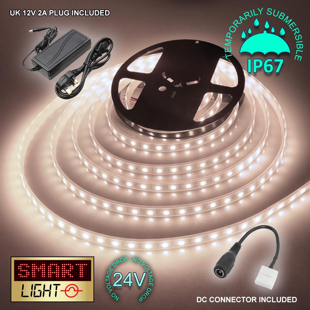 24-V-BIANCO-1M-20M-LED-Luce-Striscia-Nastro-Natale-Armadietto-Cucina-Illuminazione-Impermeabile miniatura 16