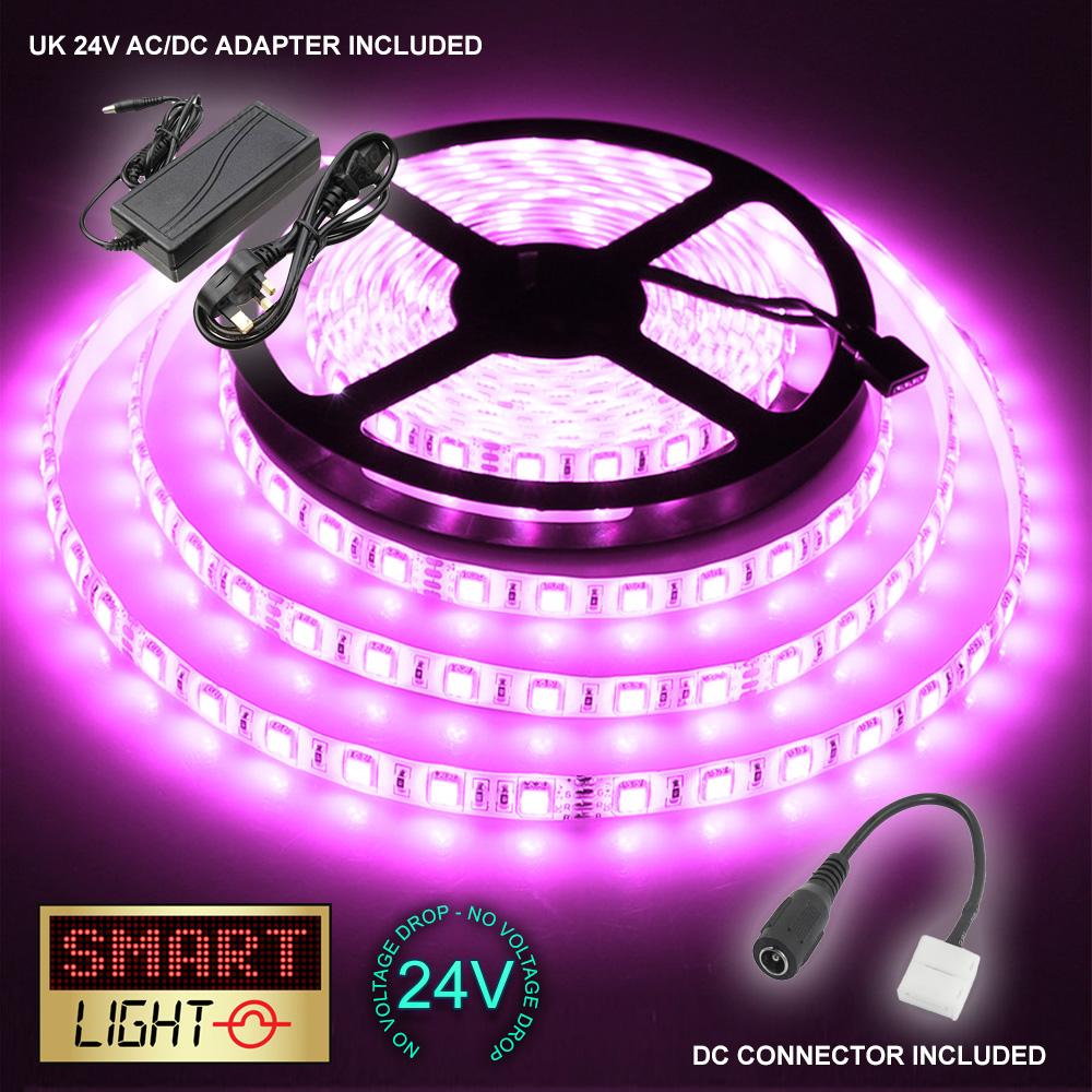 24-V-5-M-300-LED-luz-de-tira-de-cinta-Navidad-del-Gabinete-Cocina-Techo-Impermeable-SMD-5050