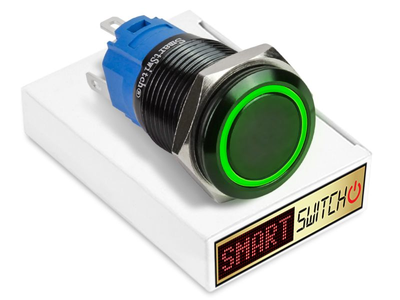 19mm Black Aluminium ANGEL EYE HALO Latching LED Switch 12V/3A (16mm Hole) - GREEN