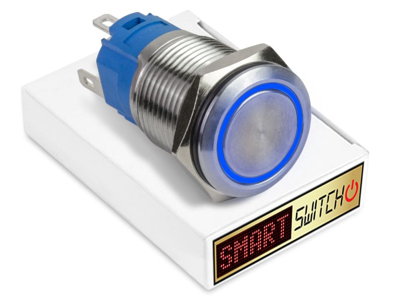 19mm Stainless Steel ANGEL EYE HALO Latching LED Switch 12V/3A (16mm Hole) - BLUE