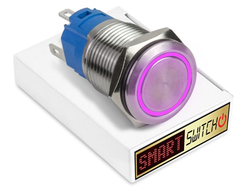 19mm Stainless Steel ANGEL EYE HALO Latching LED Switch 12V/3A (16mm Hole) - PURPLE