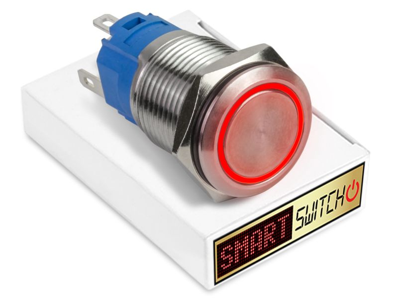 19mm Stainless Steel ANGEL EYE HALO Latching LED Switch 12V/3A (16mm Hole) - RED