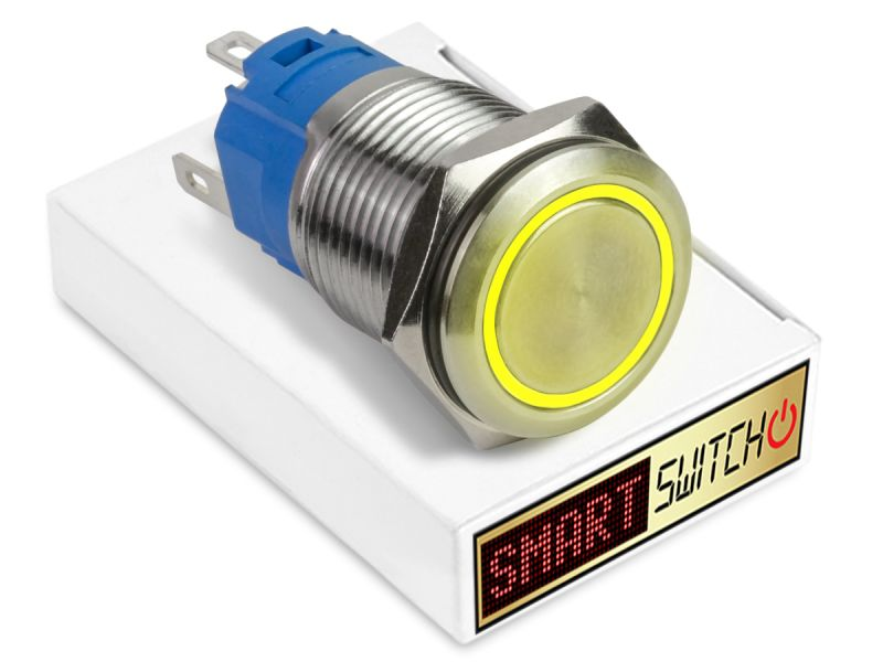 19mm Stainless Steel ANGEL EYE HALO Latching LED Switch 12V/3A (16mm Hole) - YELLOW